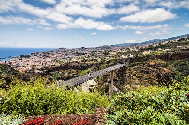 Madeira insel portugal typische landschaft, funchal stadt panoramablick vom botanischen garten
