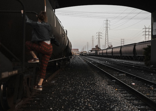 Mädchen an den la railorad tracks