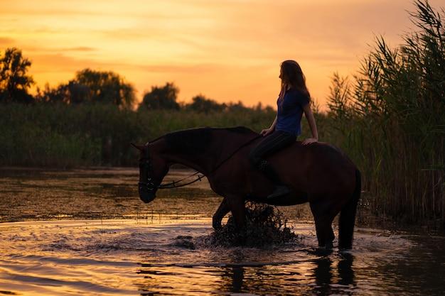 Mädchen auf einem pferd am sonnenuntergang