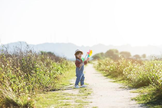 Mädchen auf gras im sommertag hält windmühle in der hand