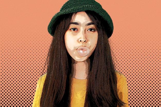 Mädchen bläst kaugummi im pop-art-stil