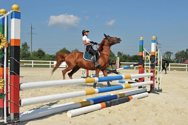 Mädchen, das ein pferd reitet, bleibt vor der barriere beim training stehen.