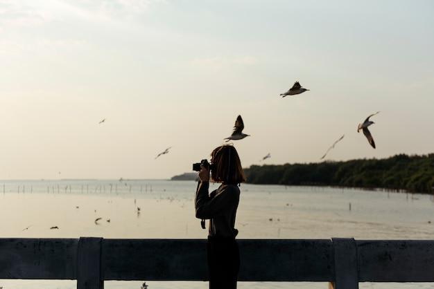 Mädchen, das fotos von den vögeln fliegen über den ozean macht