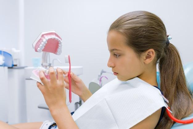 Mädchen, das in der zahnarztpraxis sitzt und modell des zahnkiefers studiert und auf behandlung wartet.