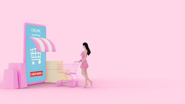 Mädchen der illustration 3d mit einem einkaufswagen auf rosa hintergrund