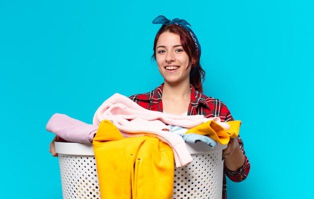 Mädchen haushälterin wäsche waschen
