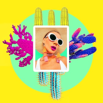 Mädchen im hellen sommerzubehör der mode. collage mexiko stimmung