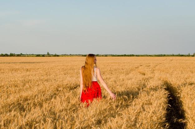 Mädchen im roten rock gehend auf weizenfeld, hintere ansicht