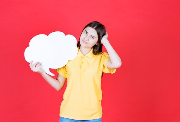 Mädchen in gelber kleiderordnung, die eine infotafel in wolkenform hält und verwirrt oder nachdenklich aussieht