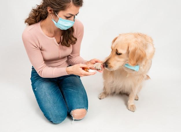Mädchen in medizinisch geschützter gesichtsmaske desinfiziert hundepfoten mit einem desinfektionsmittel.