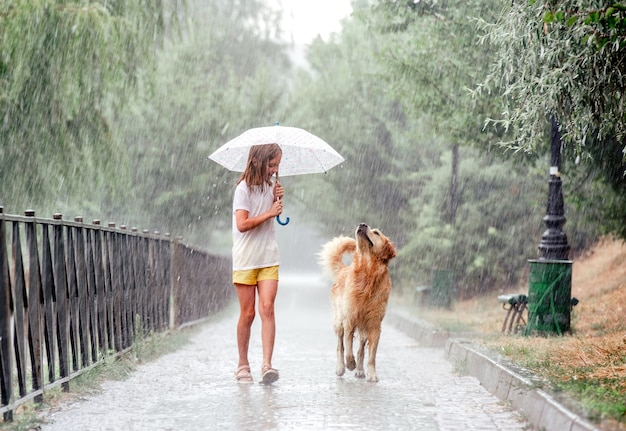Mädchen mit goldenem retriever-hund während des regens, der draußen unter regenschirm geht. jugendliches kind mit hündchen, das im sommer regnerisches wetter genießt