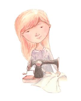Mädchen näht eine nähmaschine. aquarell