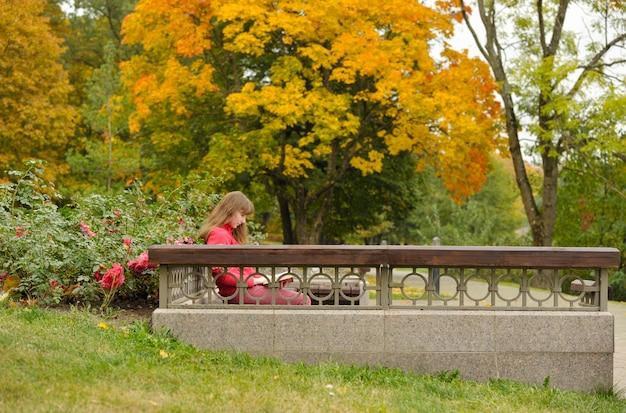 Mädchen sitzt auf bank und lesebuch, herbst.