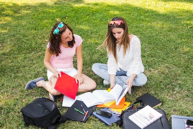 Mädchen studieren im park
