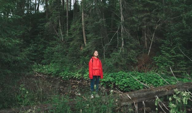 Mädchen-touristin im roten regenmantel steht auf log in wald