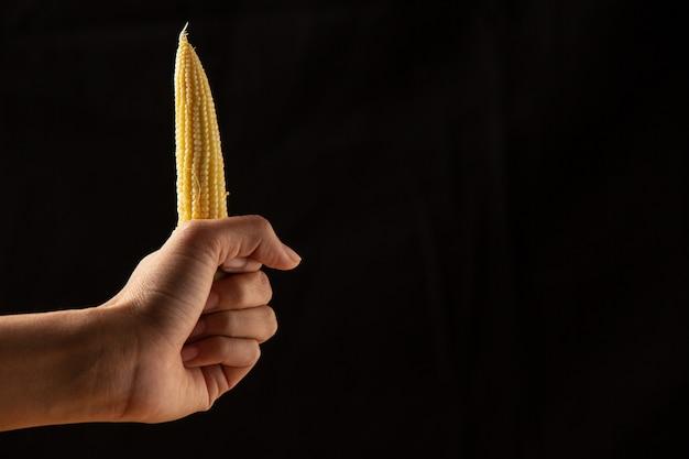 Mädchenhand, die mais hält