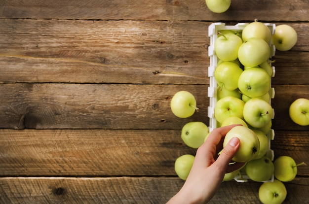 Mädchenhand mit frischen organischen grünen äpfeln in der holzkiste auf rustikalem. freiraum