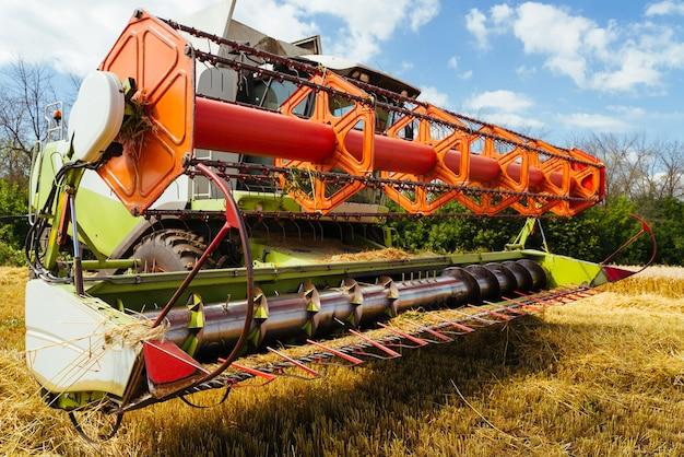 Mähdrescher ernten reifen weizen. reife ohren aus goldfeld. konzept einer reichen ernte. landwirtschaftsbild