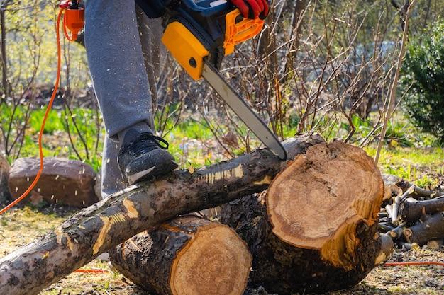 Männer sägen apfelbaum mit einer kettensäge in seinem hinterhof. arbeiter beschneiden baumstamm im garten