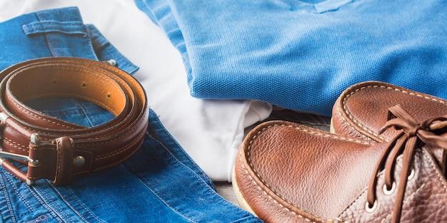 Männerkleidung und lederaccessoires
