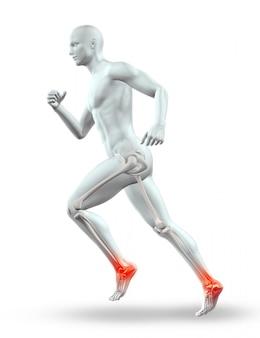 Männliche 3d-figur, die mit skelett läuft
