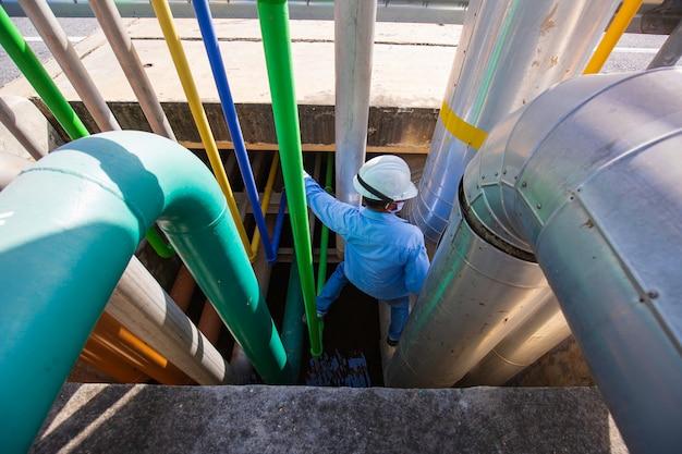 Männliche arbeiter inspektion visuelle pipeline öl und gas