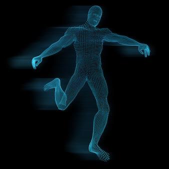 Männliche figur 3d von glühenden punkten mit bewegungseffekt