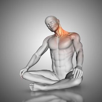 Männliche figur in neck stretch pose