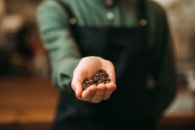 Männliche hände halten weißen teller mit kaffeekorn.