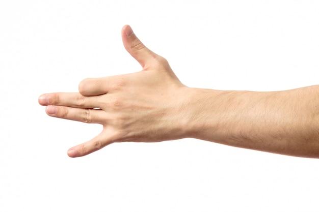Männliche hand der geste, die das hundegesicht lokalisiert anzeigt