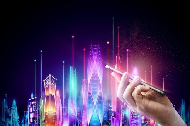 Männliche hand, die ein smartphone auf dem hintergrund hologramm smart city night neon auf einem dunklen hintergrund, big-data-technologie-konzept hält.