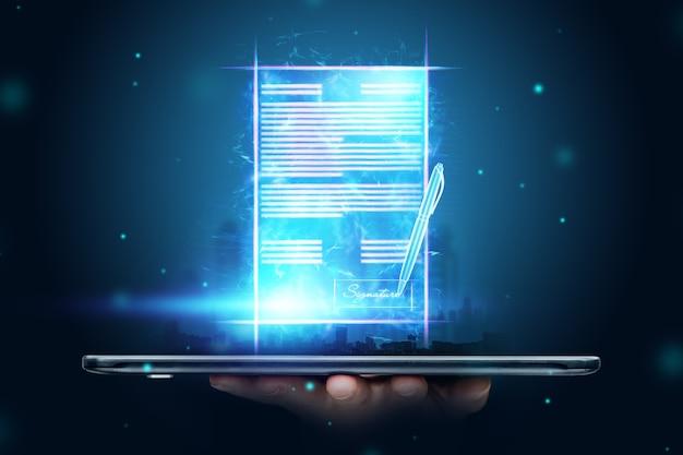 Männliche hand und moderner smartphone-hologrammvertrag. konzept für elektronische signatur, geschäft, remote-zusammenarbeit, kopierraum. gemischte medien.
