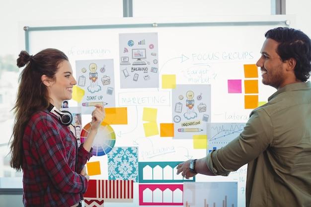 Männliche und weibliche grafikdesigner diskutieren über haftnotizen