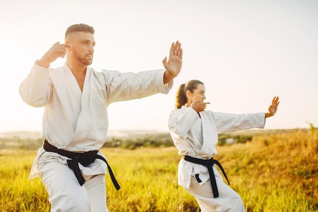 Männliche und weibliche karate-meister kämpfen auf dem feld