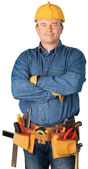 Männlicher arbeiter mit werkzeuggürtel isoliert auf weißem hintergrund