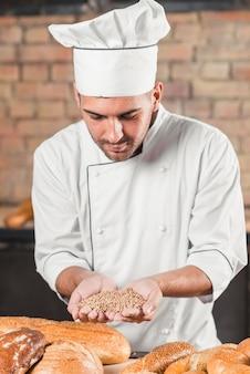 Männlicher bäcker, der handvoll weizenkorn mit vielzahl von gebackenen broten auf tabelle hält