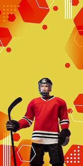 Männlicher hockeyspieler mit dem stock auf orange-rotem geometrischem hintergrund, vertikaler flieger.