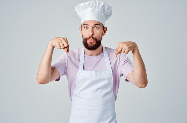 Männlicher koch professionelle küche gourmet-küche