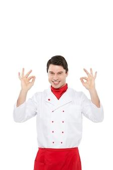 Männlicher koch über weiß