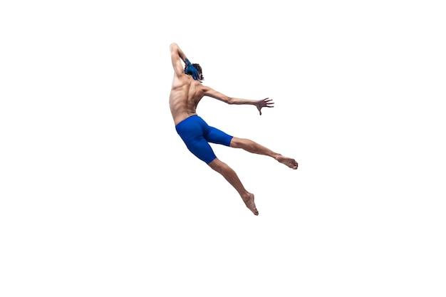 Männlicher moderner balletttänzer, art contemp performance, blaue und weiße kombination von emotionen
