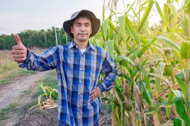 Männlicher stehender daumen der asiatischen landwirte oben im maisbauernhof bei thailand