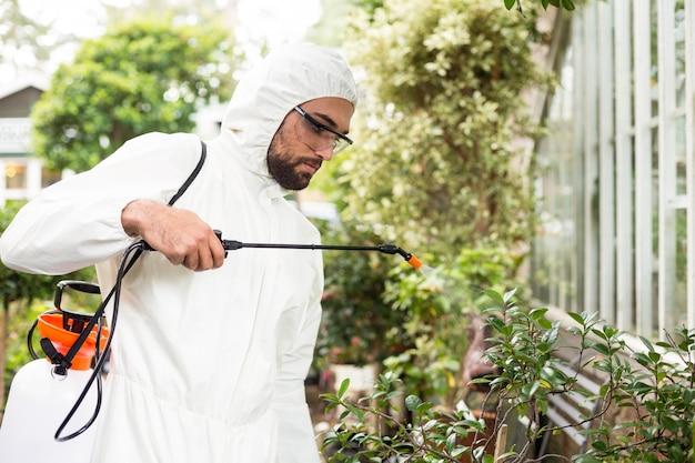 Männlicher wissenschaftler, der pestizide auf pflanzen sprüht