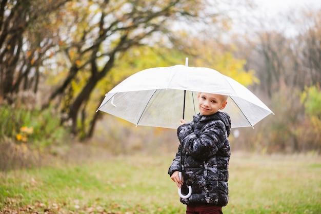 Männliches kind im grundschulalter posiert mit großem transparentem regenschirm unter regen während des spaziergangs im herbstnaturhintergrund