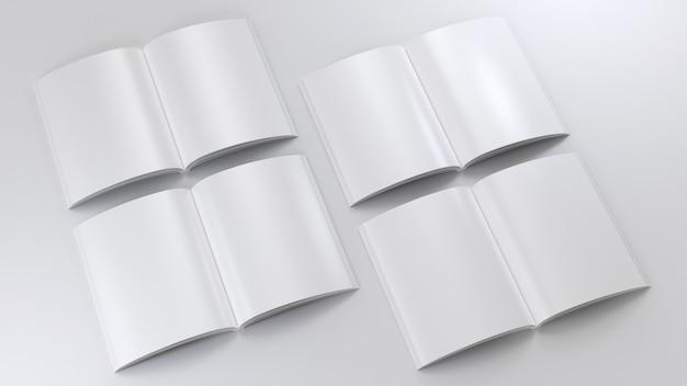 Magazin klar mockup set skizzenblock leere vorlage leeres papier notiz klares tagebuch modell