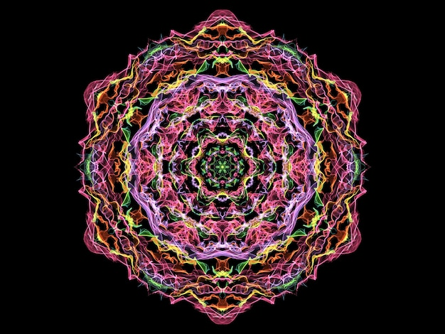Magische abstrakte flammenmandalablume, neonrundmuster auf schwarz