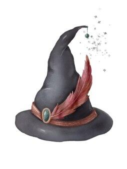 Magischer hexenhut mit federhandzeichnungsillustration