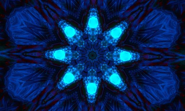 Magischer hintergrund für tarot, astrologie, magie. das gerät des universums, halbmond und sonne mit einem gesicht auf blauem hintergrund. magisches kaleidoskop.