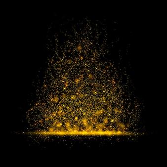 Magischer staub des goldfunkelnden sternes auf hintergrund.