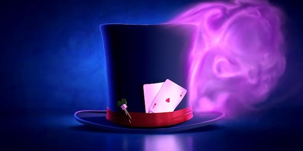 Magischer zylinder mit spielkarten hinter einem roten band mit haarnadeln gegen eine oberfläche des magischen rosa rauches.