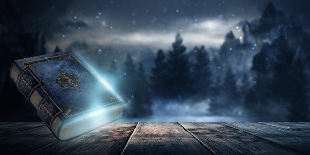 Magisches vintage-fantasy-buch auf dunklem hintergrund, landschaft, rauch, nebel, neon-mondlicht im dunkeln. 3d-darstellung.